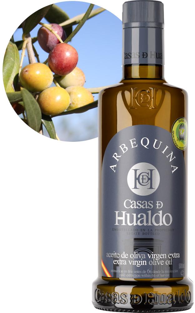 Botella AOVE Arbequina Casas de Hualdo 625x1000
