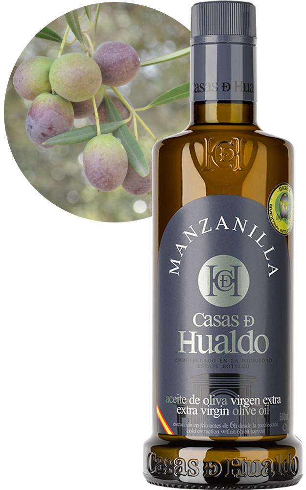 Botella AOVE Manzanilla Casas de Hualdo 625x1000